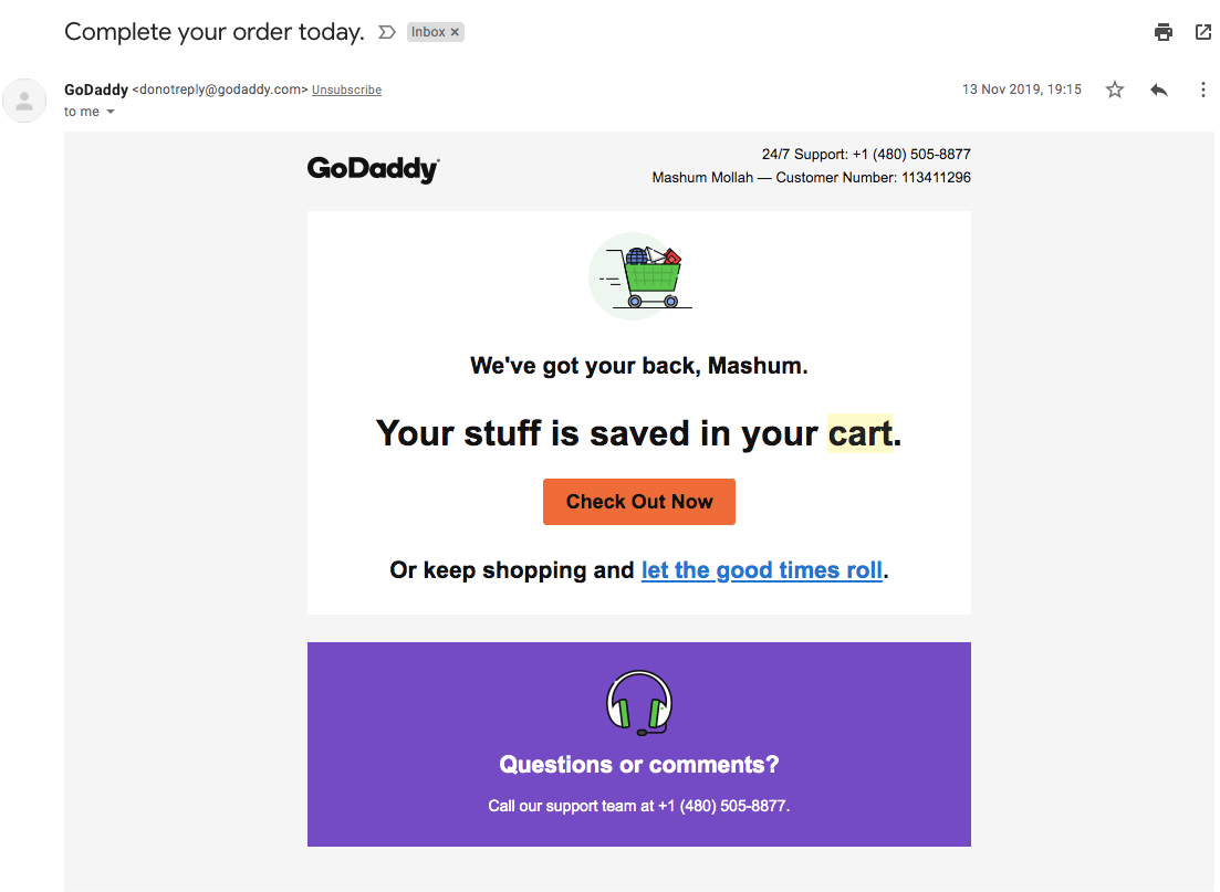 Cart Abandonment Email-Godaddy